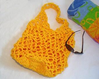 Yellow Mesh Beach Bag / Summer Beach Bag / Mesh Cord Bag / Market Bag