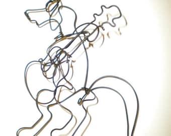 Guitar Dog-- 3-D steel wire sculpture