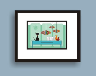 Clementine - Mid Century Modern Art Original Print by C Wiedenheft  comes with a white mat and ready to frame.