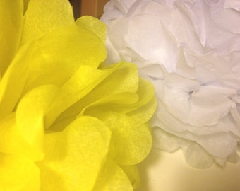 "10 Paper Pom Pom Bridal Shower Decor Tissue Pom Pom Paper Decorations Tissue Paper Flowers Wedding Decoration Paper Pom 8""10""12""White Yellow"