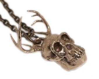 Chimera Necklace Hybrid Chimpanzee and Deer Bronze White Bronze Silver Mythological Creatures