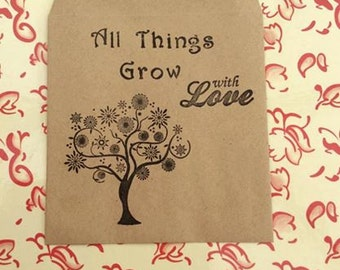 Wedding Seeds Favour Envelopes Packets Handmade Vintage Shabby Chic All Things Grow With Love - Set of 10