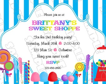 Sweet shoppe candy any color invitation birthday party printable invitations UPrint customized card by greenmelonstudios