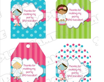 Spa party Thanks you tags hang tags INSTANT DOWNLOAD UPrint  by greenmelonstudios