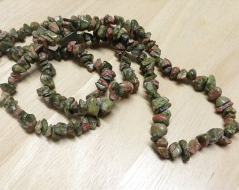 Unakite Chips Beads Strand, Size 5-8 mm (GC 08)