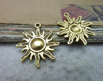 20pcs 25x28mm Gold sun pendant, sun-god charms Jewelry findings wholesale  bc7704