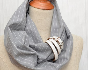 Cotton Infinity Scarf. Chunky Scarf. Natural Cotton. Light striped Gray. White leather cuff.
