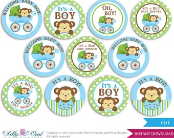 Boy Monkey Cupcake Toppers for Baby Shower Printable DIY, favor tags, circles, It's a Boy, Stroller - ONLY digital file - aa26bs0
