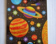 Outer Space Stickers Sparkle Planets solar system Stars and planets stickers scrapbook stickers