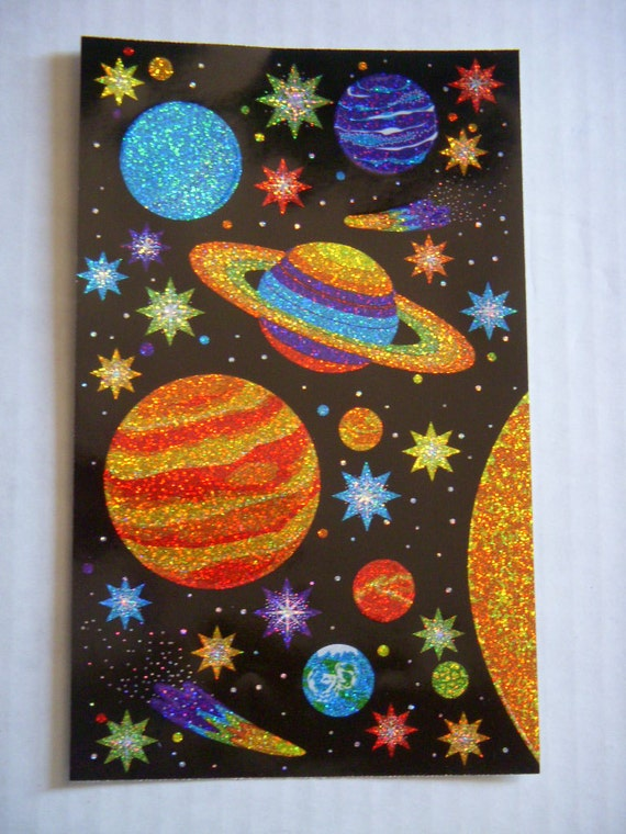 Outer space stickers sparkle planets solar system stars and for Outer space designs norwich