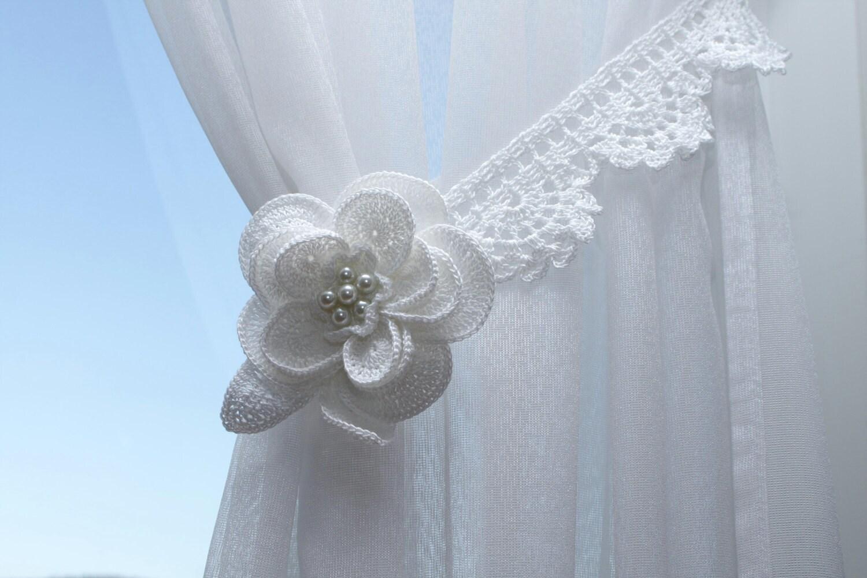 Crochet flower curtain tie back by DecorAnna on Etsy