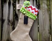 Shabby Chic Burlap Red Chevron Christmas Stocking