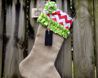 Shabby Chic Burlap Red Chevron Christmas Stocking