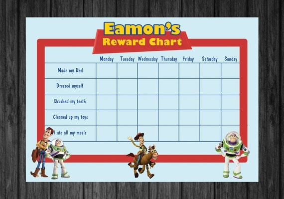 Toy Story Potty Training Chart : Personalised toystory kids rewards chart por