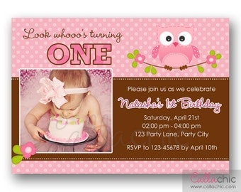 Owl 1st Birthday Invitation PRINTABLE with Photo - Girl / Boy - Pink Brown Blue Polka Dot