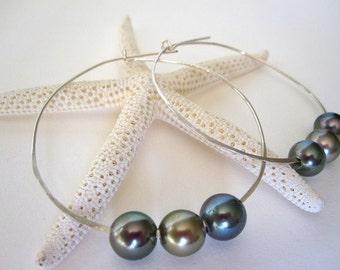 Tahitian Pearl Earrings, Sterling Silver Hoops, 14K Gold Hoop Earrings, Black Pearl Earrings, Pearl Hoops, Pearls Sterling Silver Earrings