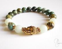 Buddha Bracelet w/ Amazonite & Turquoise Jasper - Gold Beaded Spiritual Semi-precious Gemstone - Yoga Meditation Protection Healing Chakra