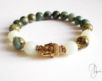 Turquoise Jasper & Amazonite Buddha Bracelet - Gold or Silver Yoga Meditation Gemstone Jewelry - Throat, Heart Chakra Stones