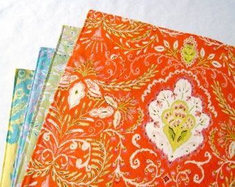 Large Cloth Placemats - Set of 4 - Orange Green Blue Yellow Ikat - Variety, Assorted, Mismatched - Reversible