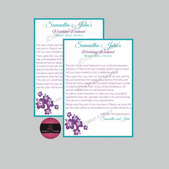 Items Similar To Destination Wedding Welcome Letter For Welcome Bag Hibiscus Design Mexico