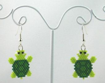 Beaded Turtle Earrings