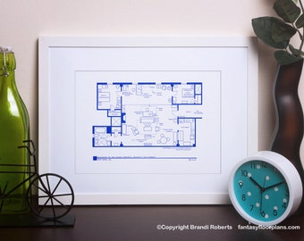 How I Met Your Mother Poster Art SET - TV Floor Plan - Apartment Blueprints for Ted Mosby, Robin Scherbatsky, Lily, Marshall, Barney Stinson