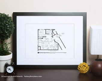 Seinfeld Apartment Layout - TV Show Floor Plan - Blackline Poster Art for Sitcom Apartment of Jerry Seinfeld **Featured on NBC's Today Show