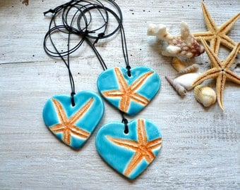 Necklace with turquoise ceramic pendant-pendant with starfish-summer necklace