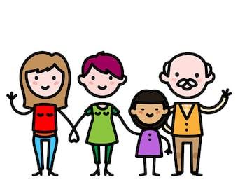 Custom family caricature