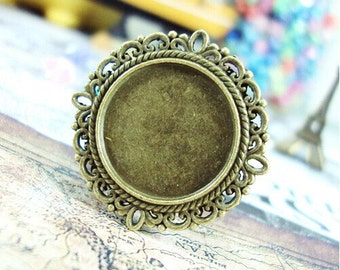 WHOLESALE 50pcs Filigree Rope-Edged 20mm Round Bezel Cup Cabochon/ Cameo Pendant Mountings
