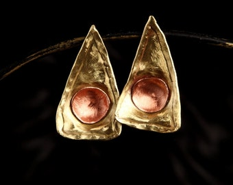 Earrings gold foil with copper Bowl
