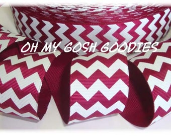 "MAROON WHITE CHEVRON grosgrain ribbon - 1.5"", 2 1/4"", 3"" widths - 5 Yards - Oh My Gosh Goodies Ribbon"