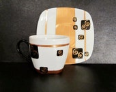 Azteca - Hand Painted Cup & Saucer Set / Plate / Black / Copper / Stripes / Gift / Coffee / Tea