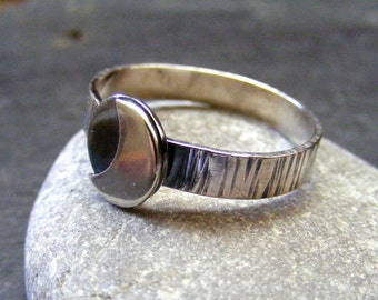 Silver crescent moon ring for stacking Hammered silver moon ring
