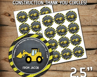 Construction thank you, construction birthday party, construction, construction party favors, printable