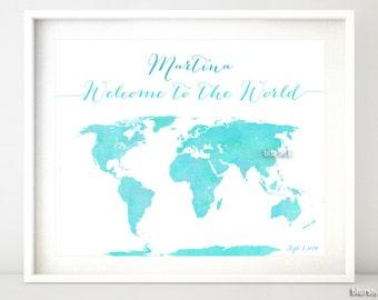 Custom Quote Printable World Map With Us States Aquamarine Mint Custom Baby
