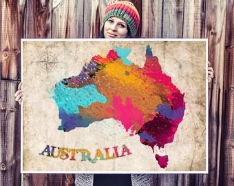 WATERCOLOR MAP - Australia Map. Watercolor Painting. Watercolor poster. Handmade poster.