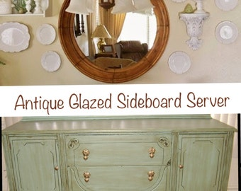 Example of Finished work Antique Sideboard Buffet Server Shabby Chic
