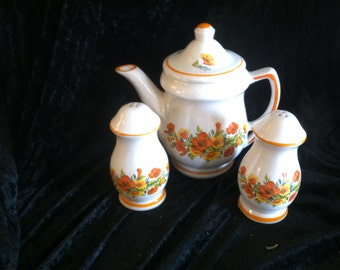 Vintage orange and yellow poppy teapot with salt and pepper shakers
