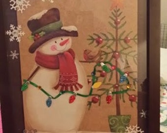 8x10 inch Snowman with Tree and Lights picture