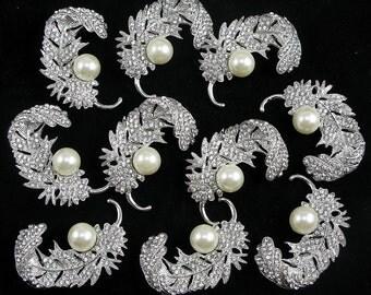 Lot 10x Leaf Crystal Rhinestone Pearl Brooch Pin Wedding Bridal Bouquet Brooch Wedding Supply Invitation Embellishment Bridesmaid Gift Decor