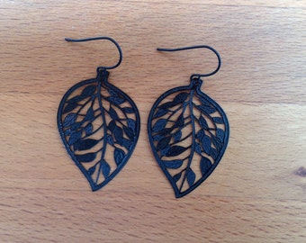 Jet black leaf filigree earrings