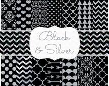 Black and Silver Blog Background, Metallic Chevron, Glitter Polka Dot, Silver Damask, Heart Pattern, Arrow, Quatrefoil, Seamless Web Tile