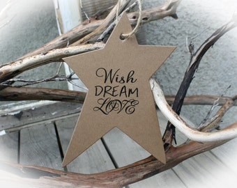 Baby Shower Decoration Wishing Tree Tags- Baby Shower Wishing Tree- Baby Shower Idea - Boy Baby Shower- Wish Dream Love with twine