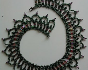 Raspberry Olivine Pearl Necklace