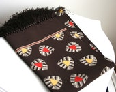 Vintage 1930s 1940s Dark Chocolate Brown Deco Pattern Rayon Scarf