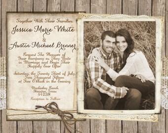 Rustic and Lace Wedding Invitation, Invite, Burlap, Wood Fence, Photos, Digital File, Printable