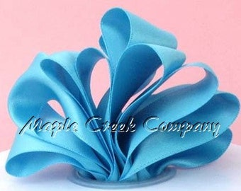 "Turquoise Double Face Satin Ribbon, 5 Widths Available: 1-1/2"", 7/8"", 5/8"", 3/8"", 1/4"""