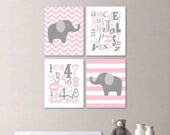 Girl Nursery Art Print. Elephant Nursery Prints. Alphabet Nursery Prints. Nursery Decor. Elephant Decor. Elephant Nursery Decor. (NS-483)