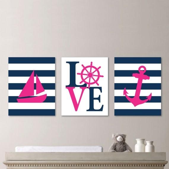Baby Girl Nursery Art Nautical Nursery Decor Nautical - cheap home decor for nautical nursery